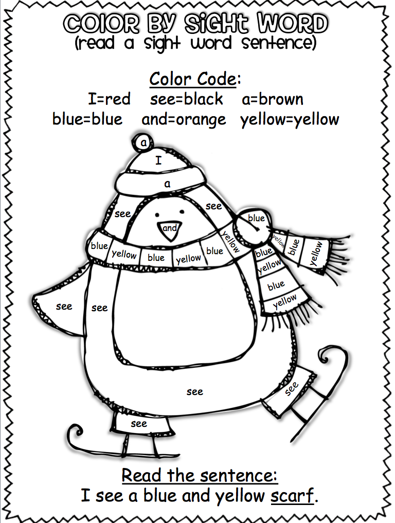 Winter Color by Sight Word Sentences (pre-primer) | Sight ...