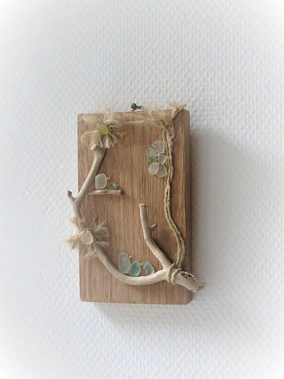 Tableau bois flotté et verre dépoli, décoration bois flotté ...