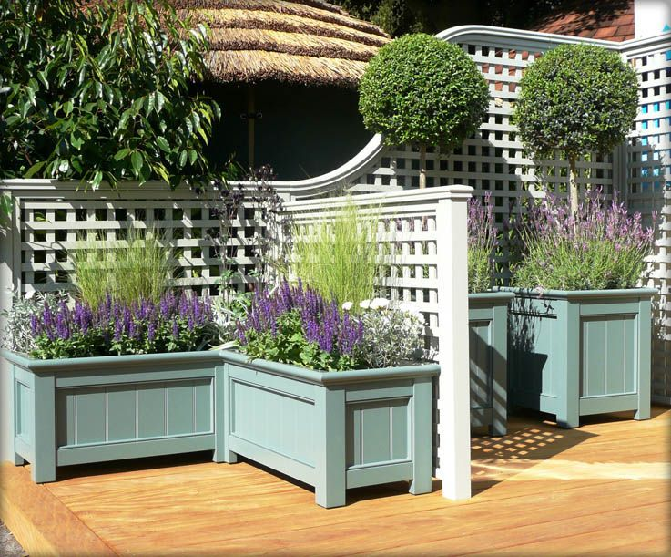 Decorative Trellis Planter Boxes And Stained Or Sealed Wooden Deck Lots Of Painting Project