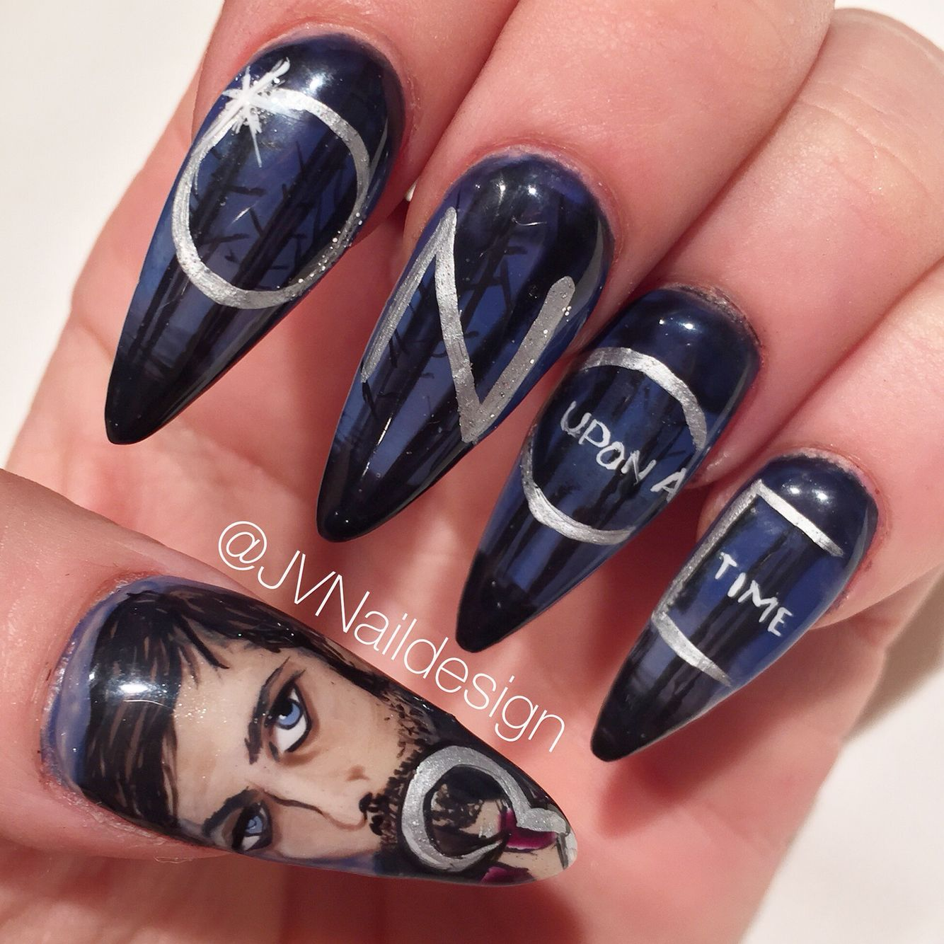 Ouat Nail Art Hand Painted Once Upon A Time Captain Hook Nails
