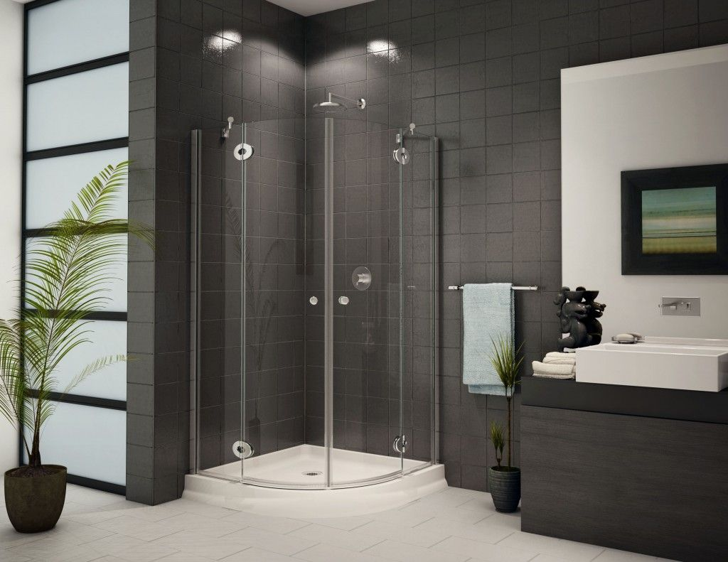 Glass Shower Enclosure and Dark Tile - design ideas @ www.bathroom.construction  -
