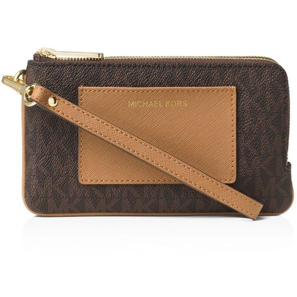 Michael Michael Kors Bedford Double Zip Pocket Medium Wristlet (110 CAD) ❤ liked on Polyvore featuring bags, handbags and clutches