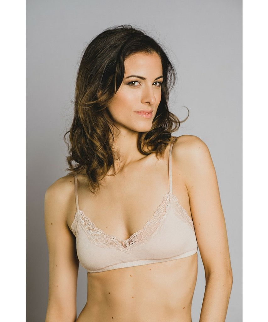 Ethical Lingerie - Organic Cotton Bralette in Beige for everyday ...