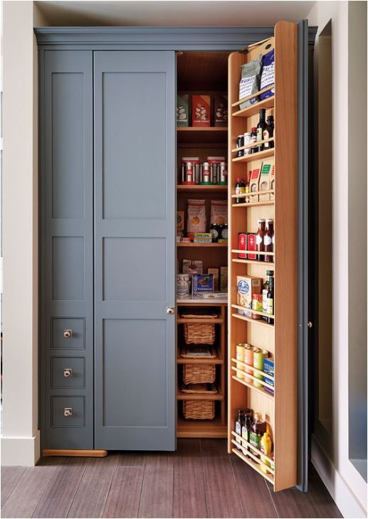 Built in pantry beautiful slate blue color kitchens for Built in pantry cabinets for kitchen