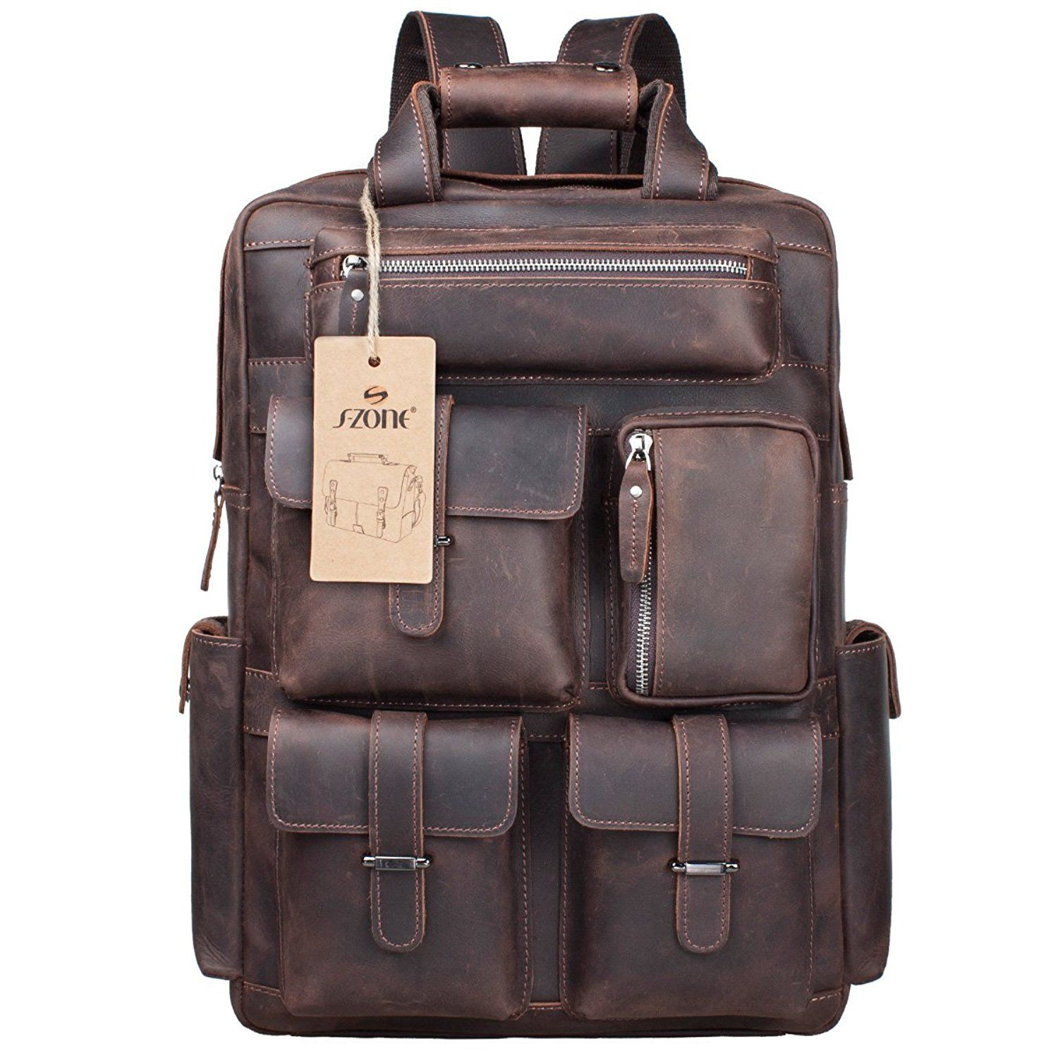 cheap prices limited guantity 2018 sneakers S-ZONE Vintage Crazy Horse Genuine Leather Backpack Multi Pockets ...