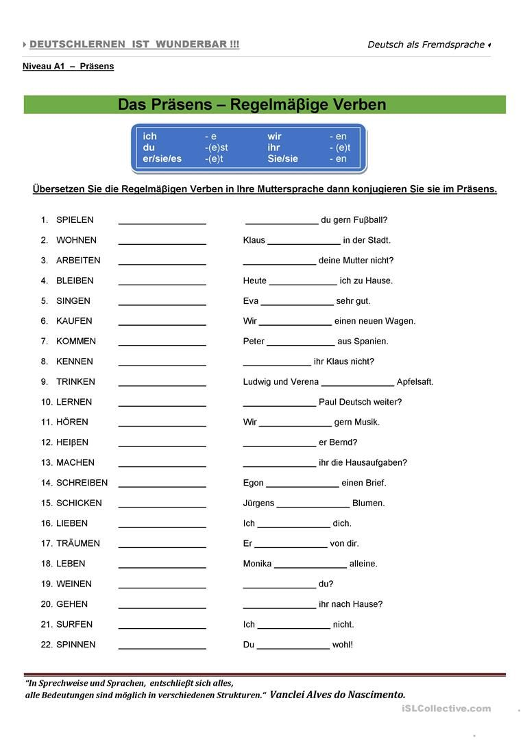 A1 - Das Präsens Arbeitsblatt - Kostenlose DAF Arbeitsblätter ...