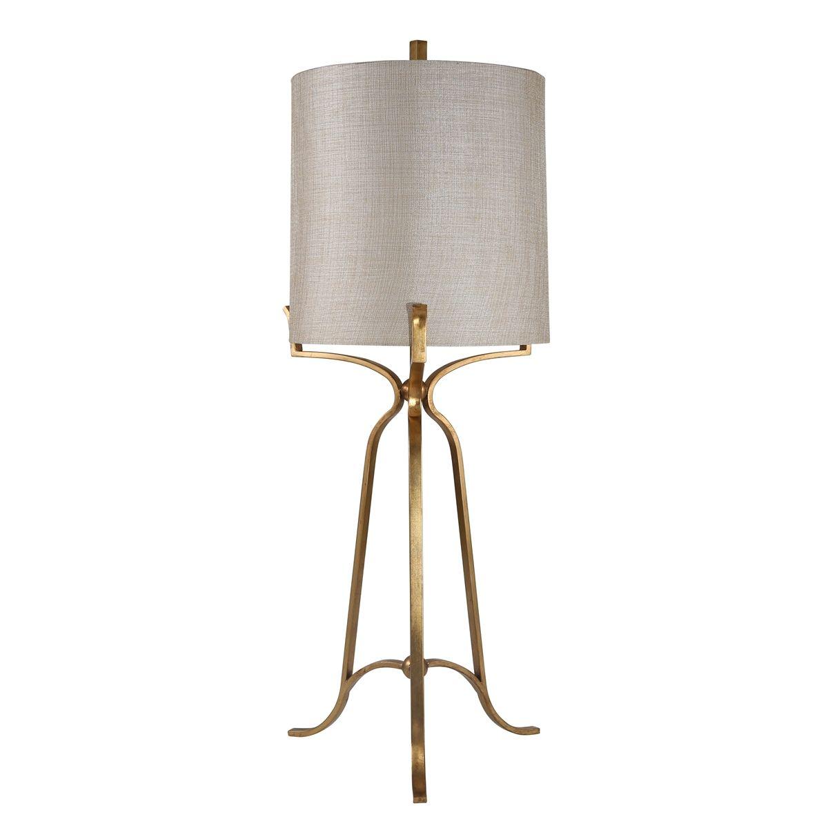 "METAL TRIPOD TABLE LAMP W/LIGHT GOLD SHADE, 43"", GOLD"