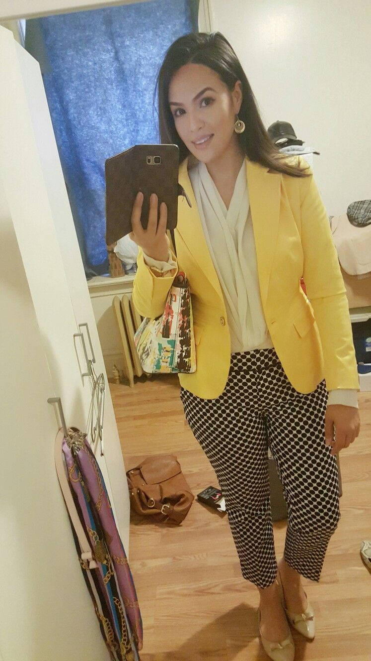 interview outfit, business outfit, work style, polkadots, yellow