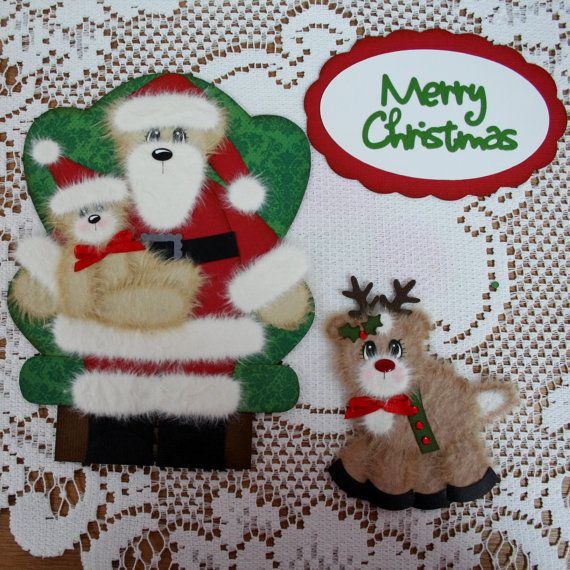 Merry Christmas Title Tear Bear Santa and Reindeer by ScrapbookPageLayouts, $20.00