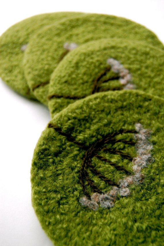 Felted Coasters Wool Queen Anne's Lace in Lime Green by shmugusta, $32.00