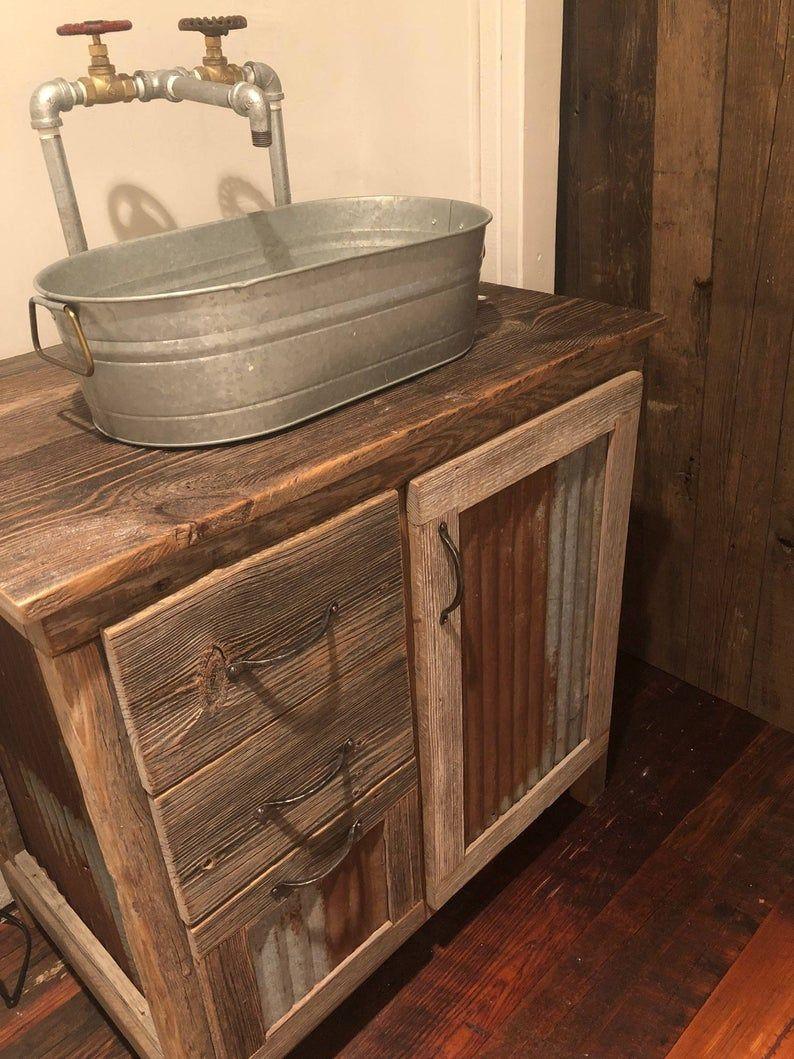 Rustic Barnwood Vanity 32 Etsy In 2020 Barnwood Vanity Rustic Bathroom Shower Barnwood Bathroom Vanity