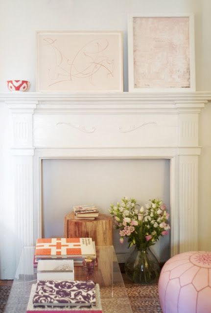 A Mantle Without A Fireplace, Blush Accents, Lucite Table, And An Ikat Bowl