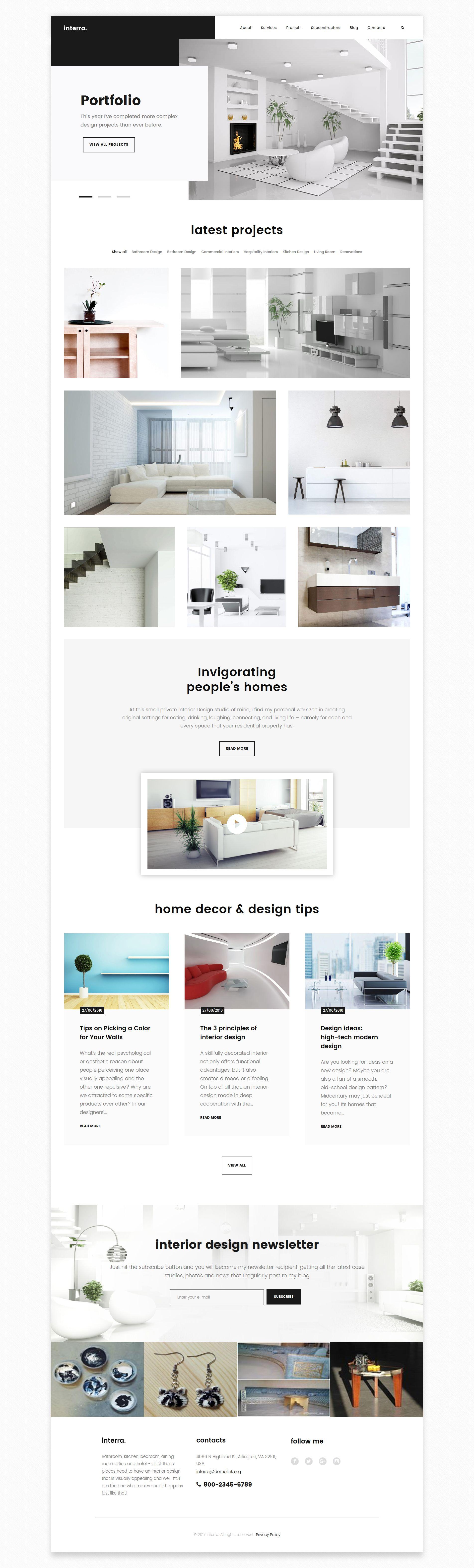 Interra The Best Interior Design Wordpress Theme Interior Design Portfolios Portfolio Design Interior Design Website