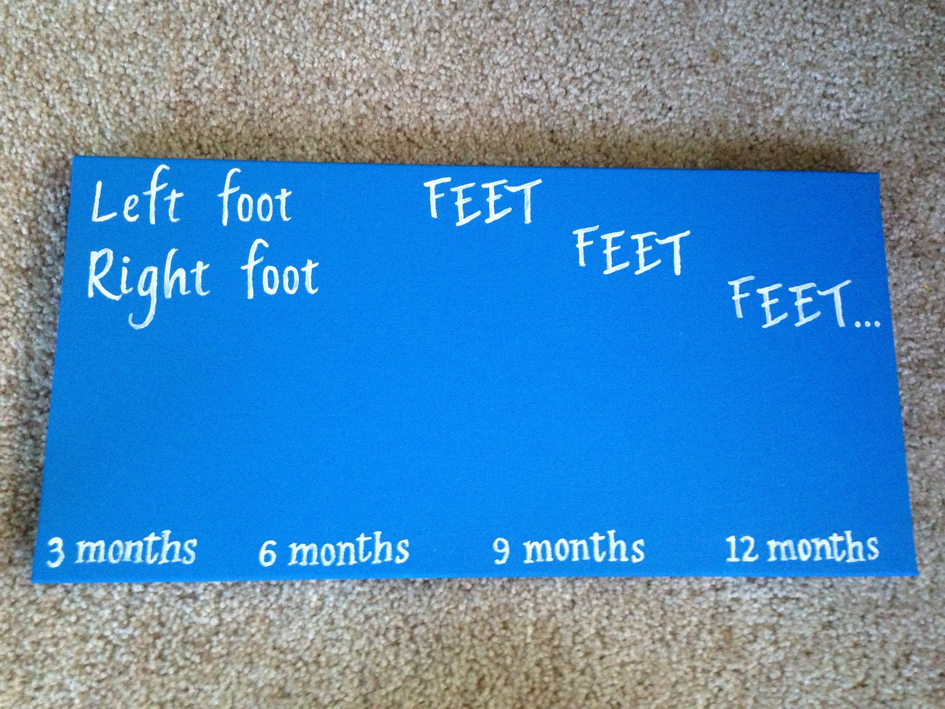 Dr Seuss 'Foot Book' inspired canvas to track baby's footprints :) perfect for a Seuss nursery!