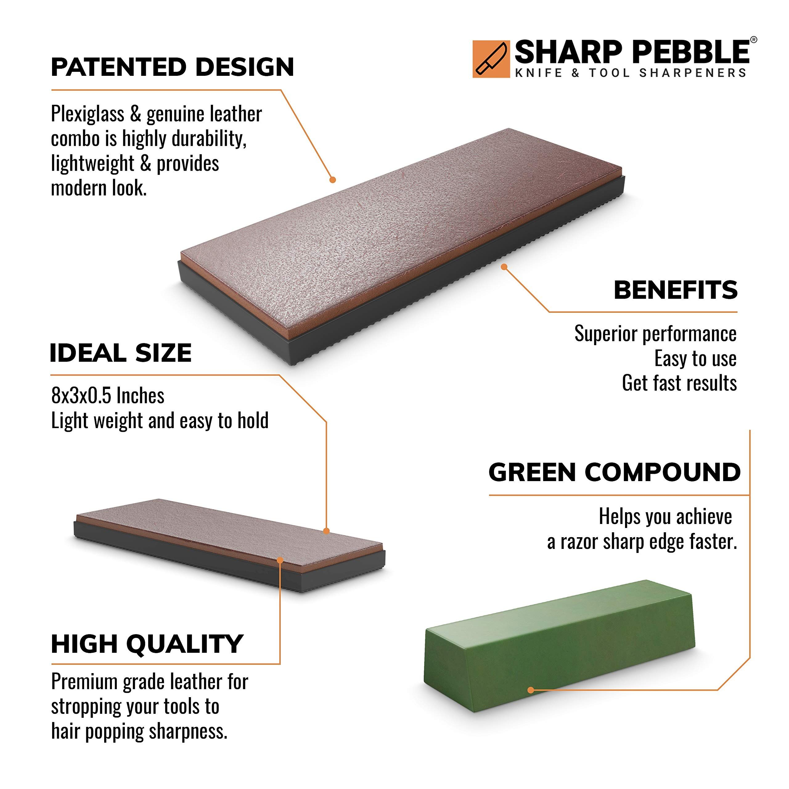 Sharp Pebble Premium Leather Strop With Polishing Compound Premium