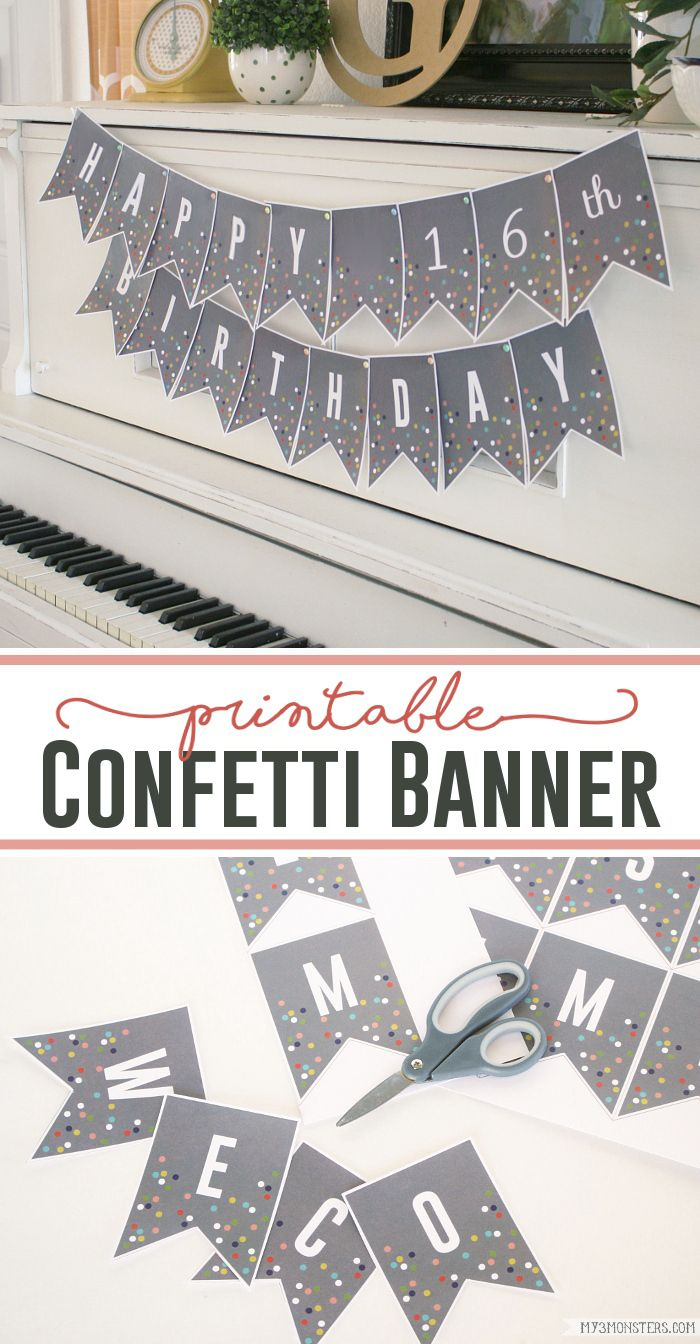 Printable Confetti Banner Letters | Free printable banner, Free ...