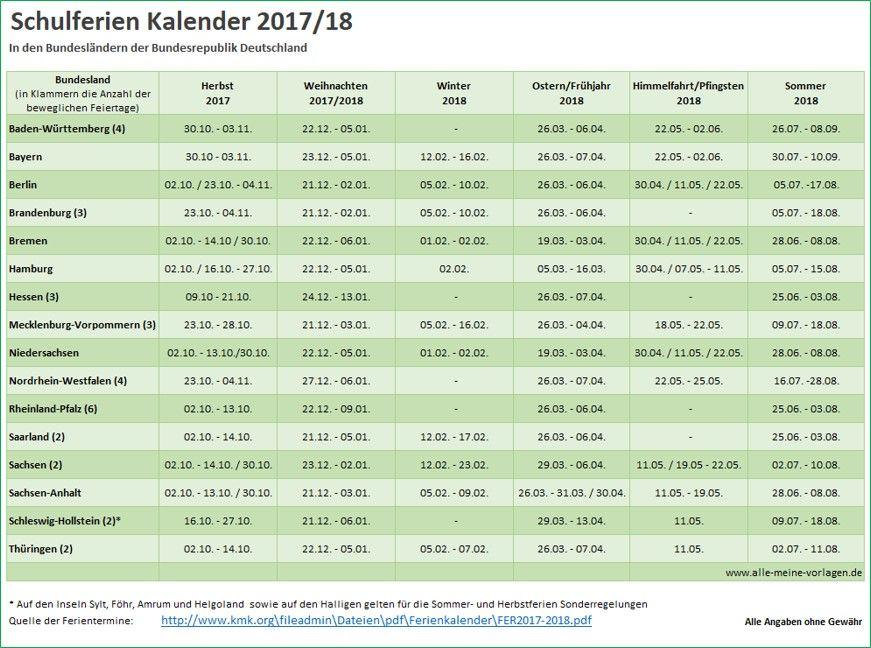 Schulferien Kalender 2017 2018 Spatestens Anfang September
