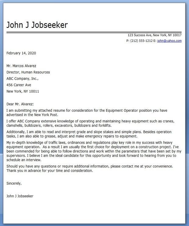 Equipment Operator Cover Letter Examples