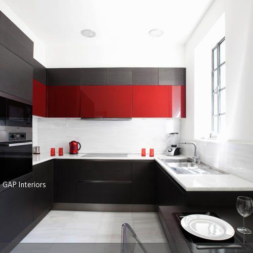 Rote Küche \/ Red kitchen Kitchen Pinterest Red kitchen and - küche schwarz weiß