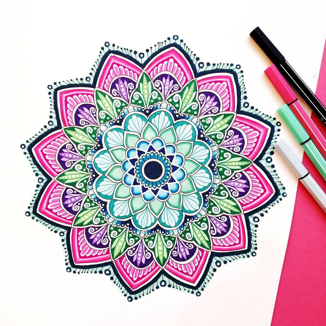 Mandala In Pink And Turquoise With The Stabilo Pen 68 Geometric Drawing Mandala Design Art Colorful Drawings