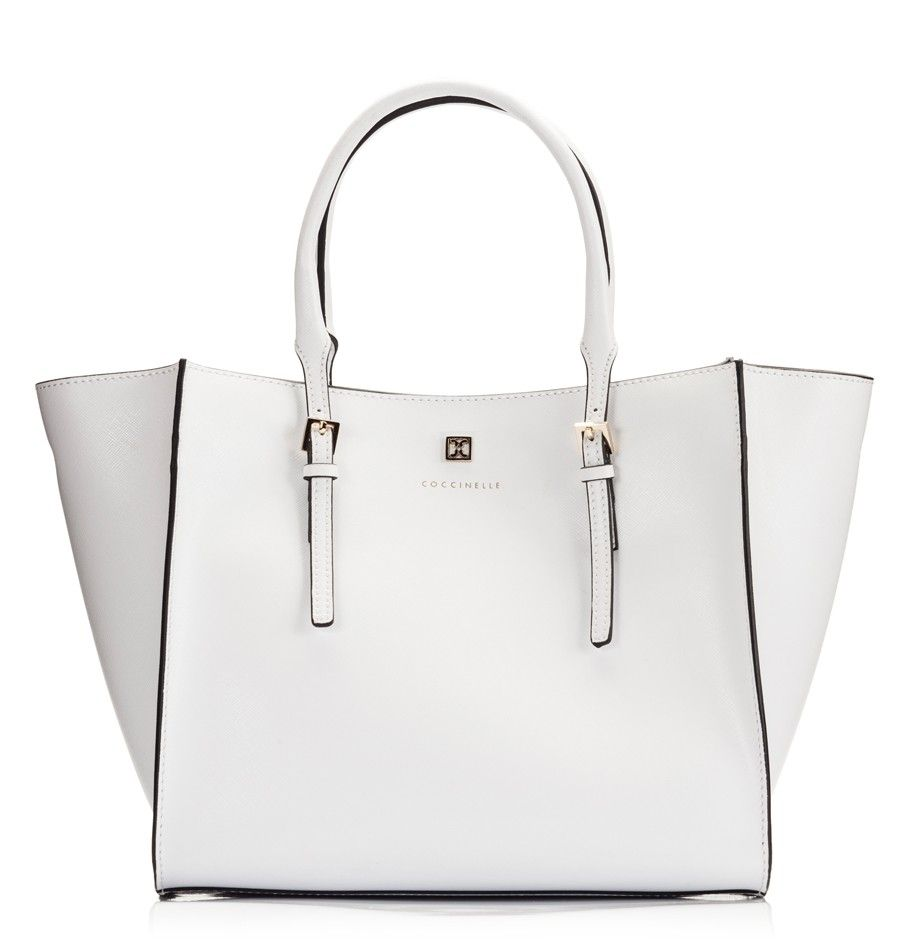 Coccinelle White saffiano leather wide open wing mini tote bag ...
