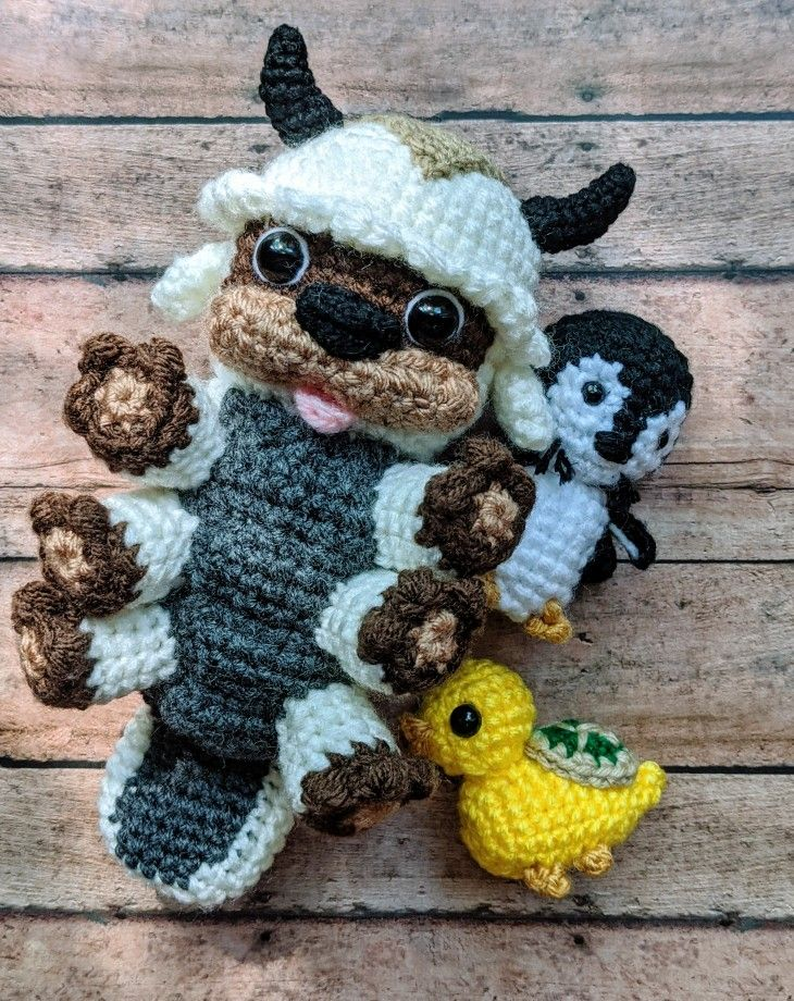 Appa, turtle duck and otter penguin amigurumi