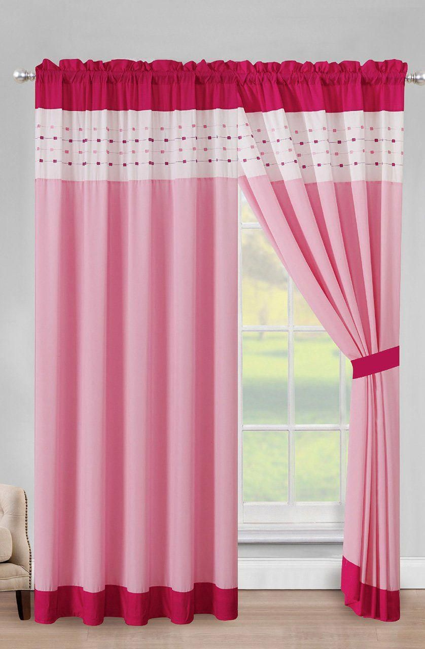 Adrina Pink White Curtain Set Modern Colorful Curtains