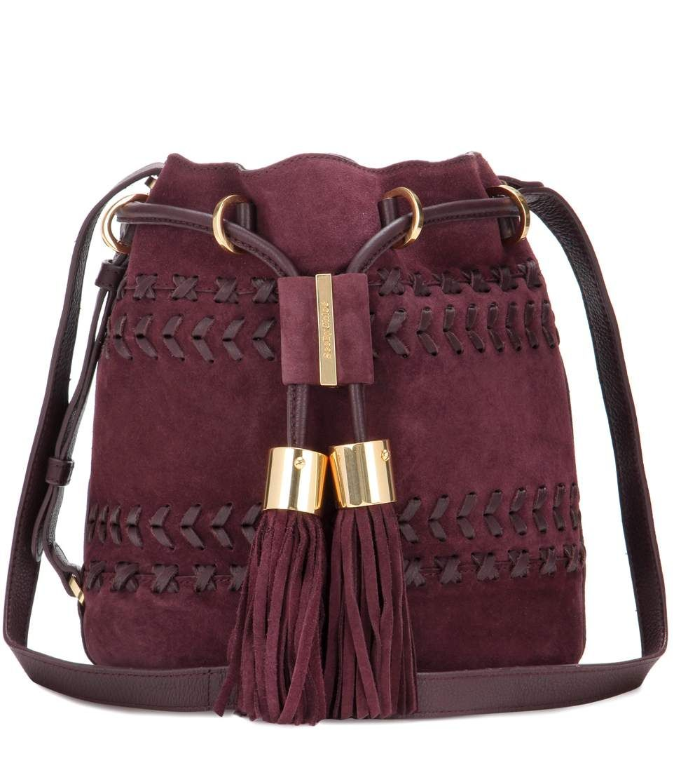 SEE BY CHLOÉ Vicki Small suede and leather bucket bag.  seebychloé  bags   shoulder bags  lining  bucket  suede   928c58b58d5