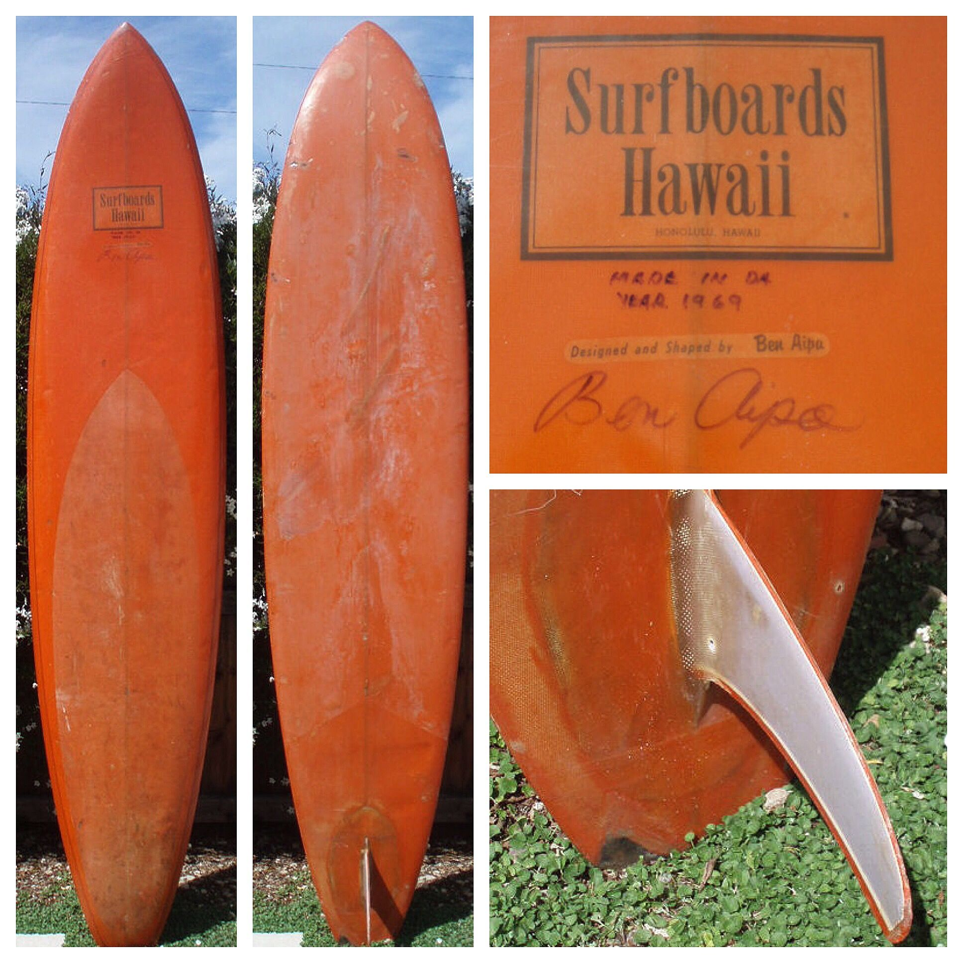 Original Late 1960 S Surfboards Hawaii Shaped By Ben Aipa