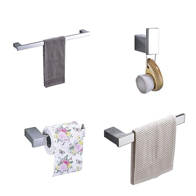 Hiendure 4 Piece Bathroom Accessory Set With 23 Towel Bar Towel Hook Towel Rack Toilet Paper Holder Chrome Review Bathroom Accessories Sets Towel Bar Towel Rack
