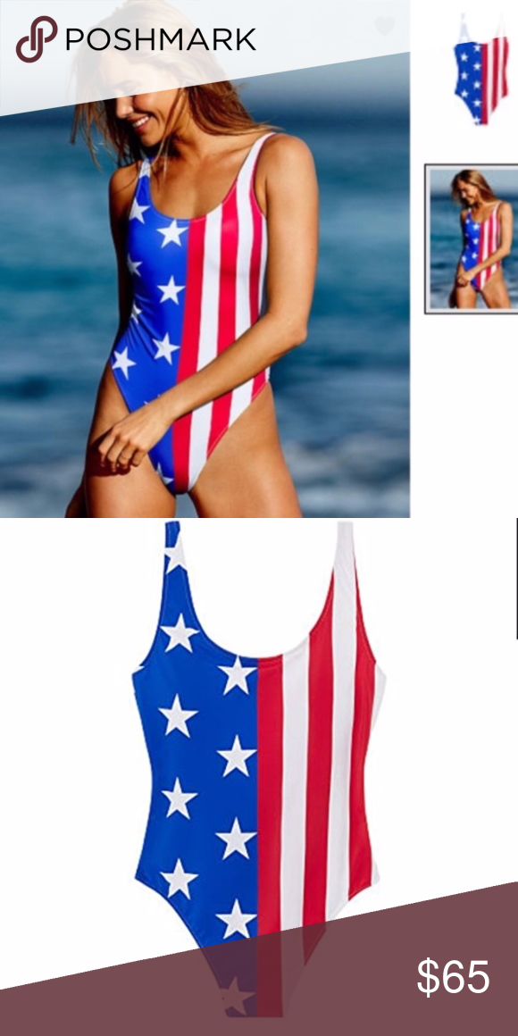 8b2ee23da9a Victoria's Secret PINK American Flag Bathing Suit Victoria's Secret PINK  Swimwear Summer USA Flag One Piece Red/White/Blue Get a leg up on summer in  this ...