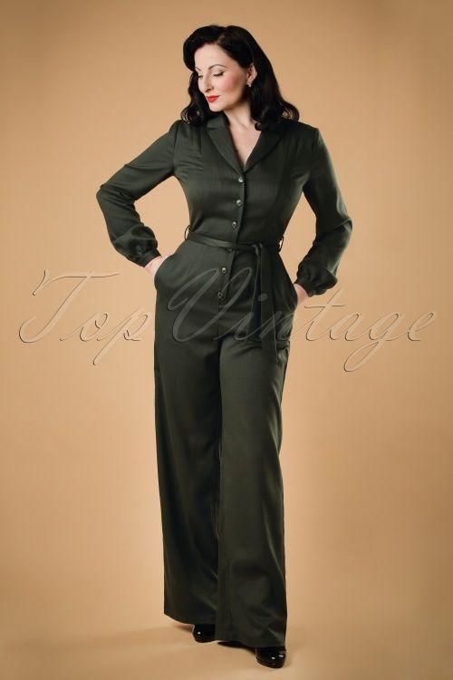 40s Jacqueline Jumpsuit In Dark Green 1940 S Fashion Jumpsuit
