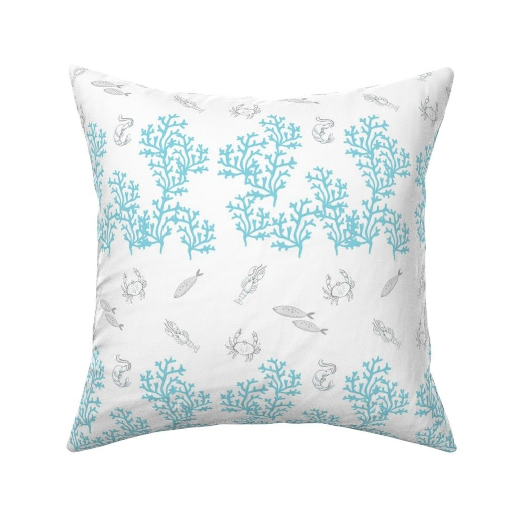 Lobster Coral Reef Border Med 747 On Catalan By Drapestudio Roostery Home Decor Unique Pillows Square Throw Pillow Throw Pillows