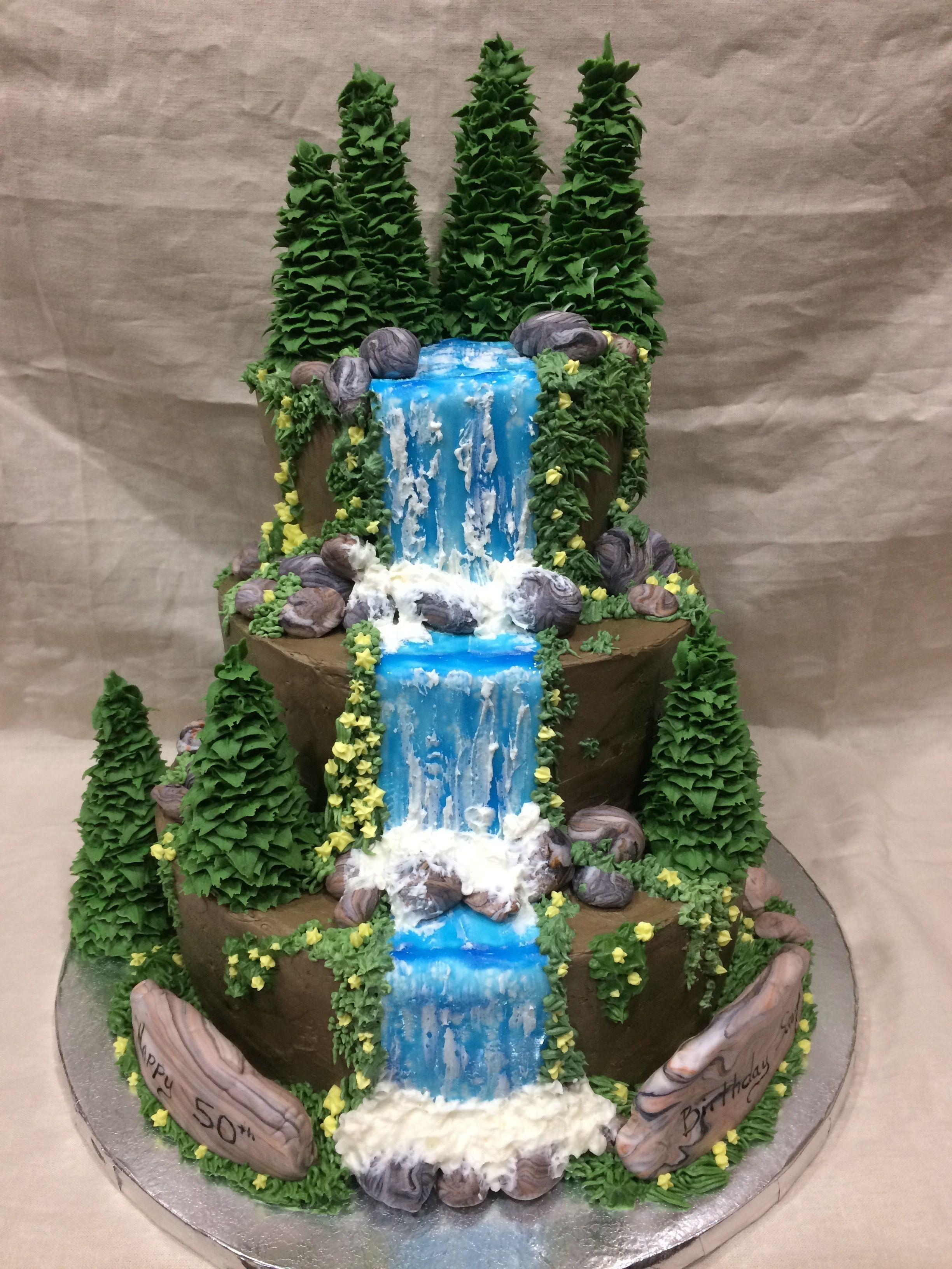 My waterfall birthday cake. | Waterfall cake
