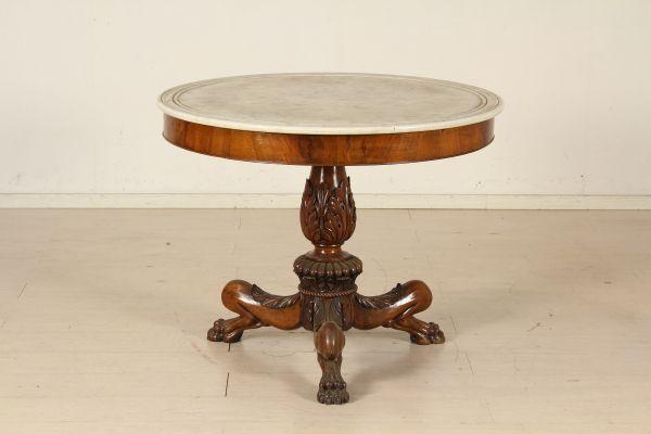 Tavolo tondo con marmo #dimanoinmano, #antiquariato