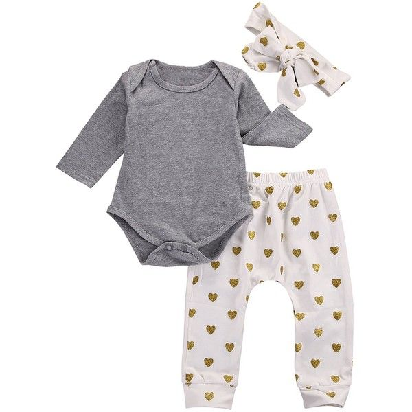 26d3ee807 Baby Girls 3pcs Outfits Bodysuits with Sweetheart Leggings Headband ...