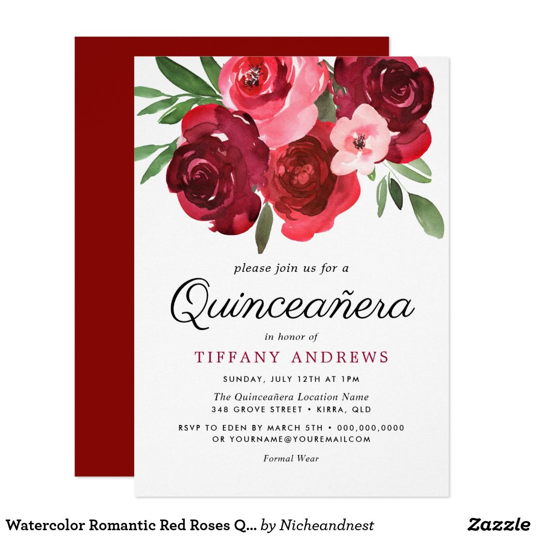 Watercolor Romantic Red Roses Quinceanera Invite | { Happy Birthday ...