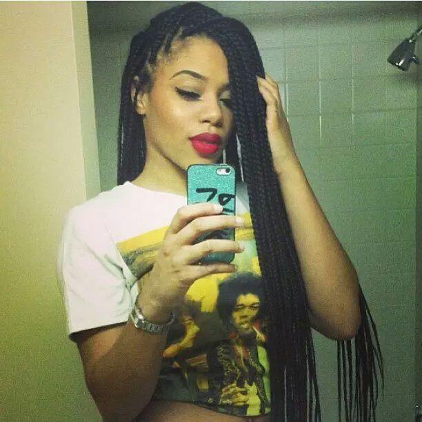 box braids and red lipstick