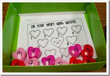 Fill Your Heart With Words activity with small heart boxes and lots of other Valentines activities.