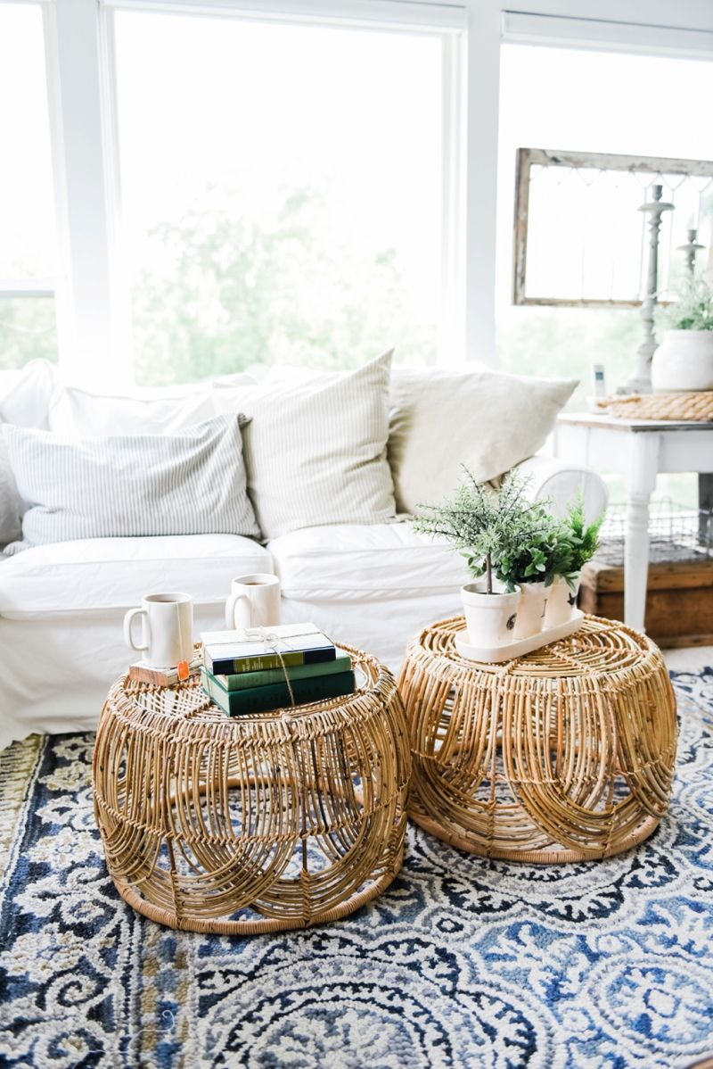 DIY Basket Coffee Table | Pinterest | Wicker coffee table, Sunroom ...