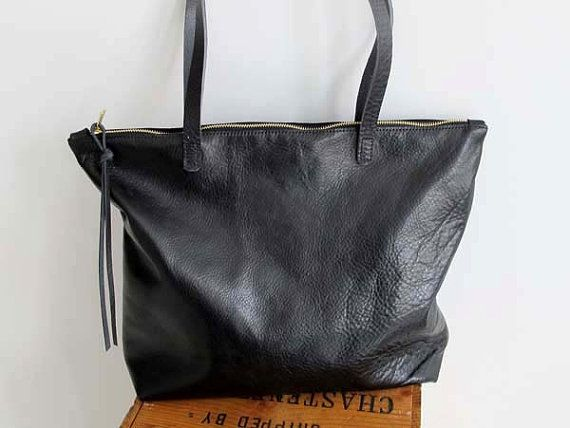 Soft Black Leather zipper Tote Bag - Everyday Tote Bag - Leather ...