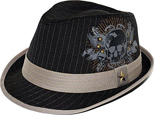 41435d77f5f Kenny K Woven Poly Cotton Black Striped Pattern Skull Fedora Solid Grey  Band (Large)