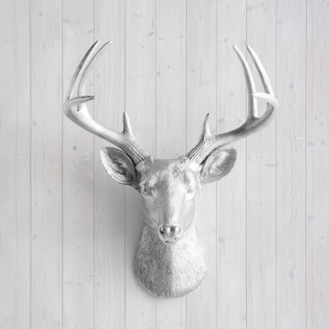 The Virginia Large Silver Faux Taxidermy Resin Deer Head Wall Mount Stag W