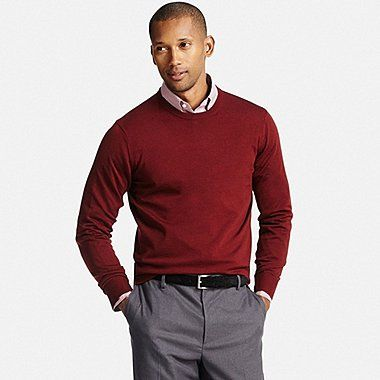 MEN EXTRA FINE MERINO CREWNECK SWEATER, WINE, medium | Clothing ...