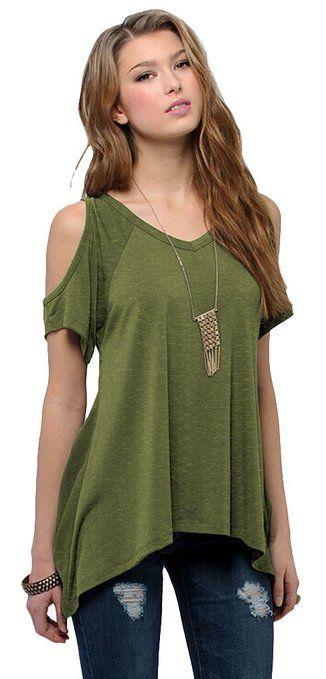 ef22ac82eec892 Women s Vogue Shoulder Off Wide Hem Design Top Shirt  affiliate ...