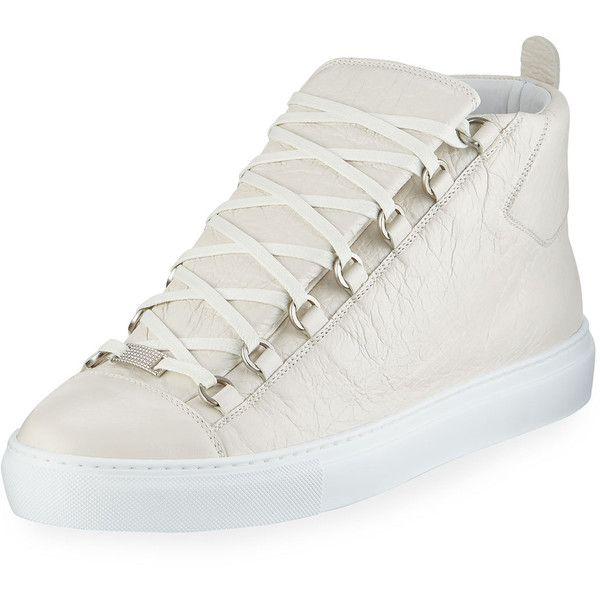 cb58dbd9a799 Balenciaga Men s Arena Leather High-Top Sneaker ( 645) via Polyvore  featuring men s fashion