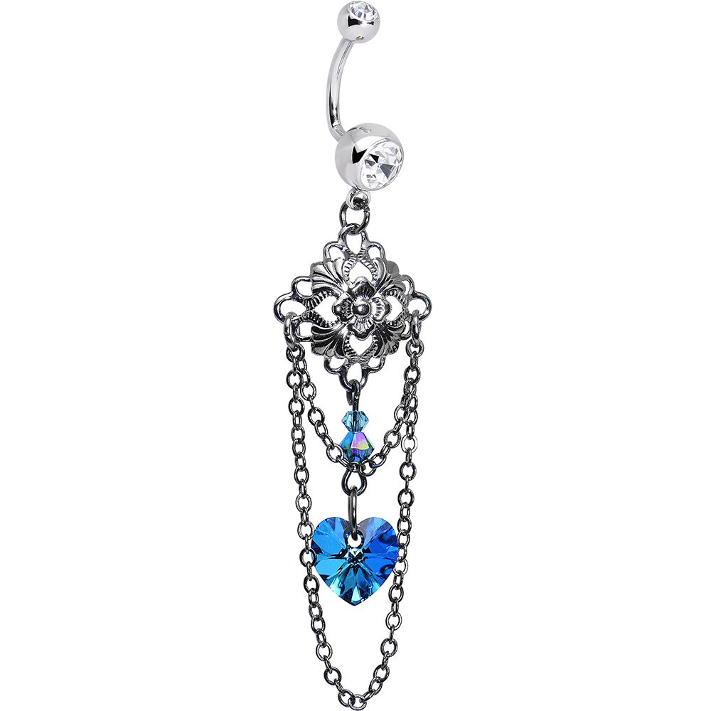 Handcrafted Clear Gem Blue Vintage Heart J Bar Dangle Belly Ring