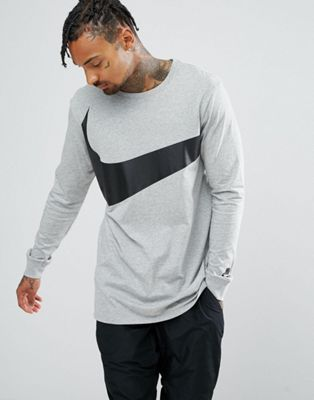 6fa89fee10 Nike Big Swoosh Long Sleeve T-Shirt In Grey 875715-063