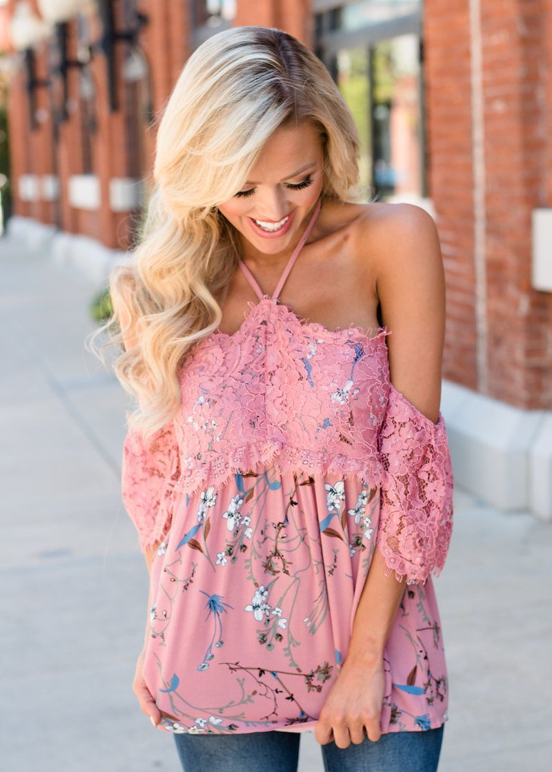 5769fe396ec88 Make Up For It Floral Lace Detail Off Shoulder Top Dusty Rose - Modern  Vintage Boutique