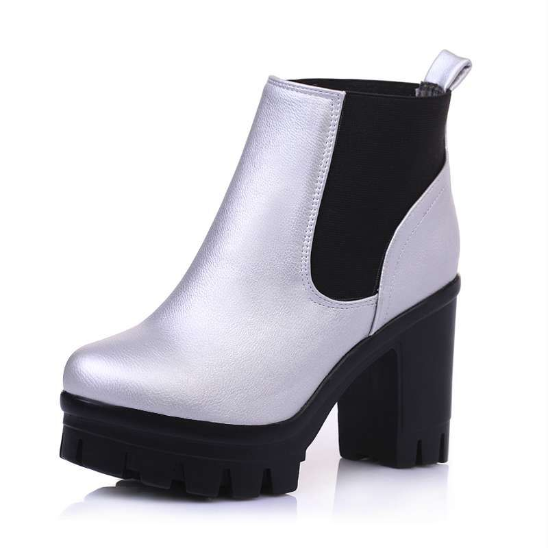 (Buy here: http://appdeal.ru/39mu ) Big size 34-43 Women Motorcycle Boots Sexy Square High Heels Spring Autumn Shoes Round Toe Winter Fur Snow Platform Ankle Boots for just US $58.24